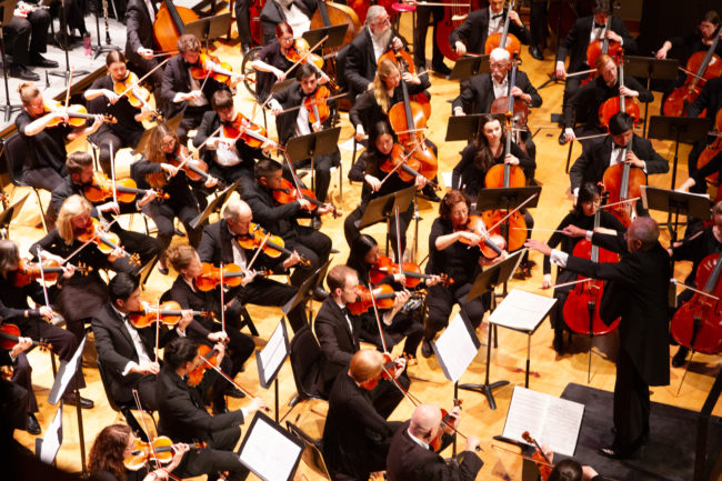 Corvallis-OSU Symphony Orchestra string performers